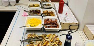 Just breakfast – to be eaten in a tiny setting: Breakfast Room @ Hotel Kuretakeso Hiroshima Otemachi (16. March 2020)
