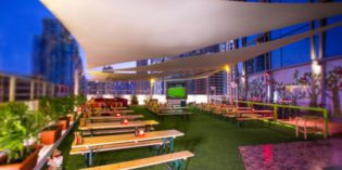 A Bavarian beer garden combined with a sauna: Garden on 8 @ Media One Hotel (27. October 2016)